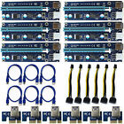 6 Pack PCI-E Express 1x to16x Extender Riser Adapter Card USB3.0 SATA 6Pin Cable