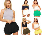 Womens Layered Frill Crepe Stretch Rara Mini Shorts Skirt Ladies Skort 6-14