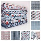 STEEL BLUE / RED - PLAYTIME GEOMETRIC 100% COTTON fabric METRE FQ BUNDE okeo-tex