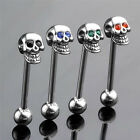 Prevalent Stainless Steel Skull Silvery Tongue Barbell Ring Bar Body Piercing