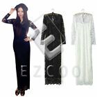 Women Scallop Neck Lace Long Sleeve Cocktail Prom Party Club Maxi Dress