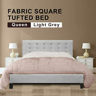 Queen Size Fabric Square Tufted Bed Frame in Beige/Light grey/Dark Grey