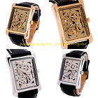 Classic Men Square Steampunk Skeleton Mechanical Black Leather Band Wrist Watch