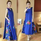 Women Cotton Blend Hooded Long Floral Printed Casual Dresses Mid Calf Maxi