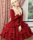 Ladies Sweet Princess Cotton Layered Cosplay Lolita Dress Costume Red/Pink/Black
