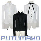 Ladies Gothic Ruffles Lolita Princess Cosplay Blouse Shirt Tailor Made 3 Colors