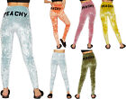 Womens Velour Bottoms Leggings Ladies Slogan Print Full Length Elasticated 8-14