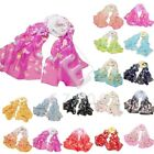 Women Chiffon Bohemia Colorful Butterfly Printed Scarf Wrap Shawl Stole