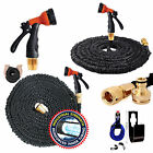 75FT / 100FT BLACK Expanding Expandable Elastic Garden Hose Pipe With Spray Gun