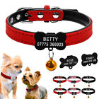 Suede Leather Personalized Dog Collars Engraved Cat Name Necklace Pink Red Black