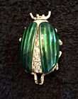 Kenneth Jay Lane Signed Pave Beetle Pin with Movable Wings