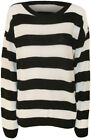 New Womens Striped Black White Long Sleeve Fisherman Ladies Knitted Jumper