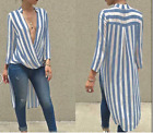 Womens Fashion T-shirt Long Sleeve Casual Deep V Neck Stripe Shirt Loose Blouse