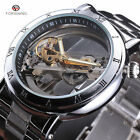 Classic Mens Transparent Watch Automatic Mechanical Stainless Steel Roman Luxury