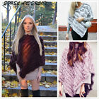 Women Genuine Vogue Rabbit Fur Knitted Poncho Cape New Sweater Cape Soft Outfit
