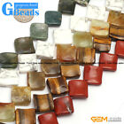 Natural Assorted Stone 16mm Diagonal Wave Beads For Jewelry Making Free Shipping