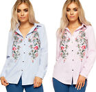 Womens Button Collar Shirt Blouse Ladies Floral Embroidered Striped Print 8-16