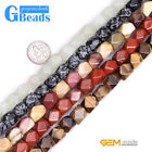 """8-9x11-12mm Assorted Stones Polygonal Beads For Jewelry Making Free Shipping 15"""""""