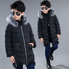 Winter Kids boys Hooded Fur Collar Cotton Down Jacket Padded Coat Thick Parkas