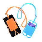 Cell Phone Silicone Wallet Case Credit ID Card Bag Holder Pocket with Lanyard HX