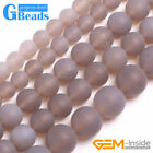 Natural Frost Gray Agate Matte Gemstone Round Jewelry Making Beads Free Shipping