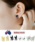 A pair Good Quality Cute Animal Cat Kitten With Pearl Necklace Ear Stud Earring