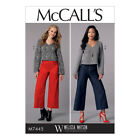 McCalls Sewing Pattern M7445 Misses V-Neck Top & Cropped Wide-Leg Pant FREE POST