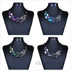 Vintage Lady Crystal Leaves Sweater Chain Statement Choker Bib Necklace Jewelry