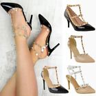 Womens Ladies Studded Low Kitten Heel Sandal Ankle Strappy Designer Shoes Size