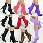 Womens Ladies Ankle Boots Stretch Lycra Stiletto High Heels Pointed Toe Shoes