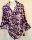 JM Collection Sz M 8 Tuxedo Front Shirt Top Split V-Neck Sequins Purple Crinkle