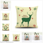 New Xmas Office Floral Elk Bolster Pillow Cover Car Christmas Back Cushion Cover