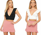 Womens Frill Plunge V-Neck Strappy Open Short Vest Sleeveless Ladies Crop Top