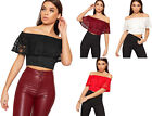Womens Floral Lace Layered Frill Off Shoulder Bardot Lined Short Ladies Crop Top