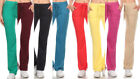 New Women's Solid French Terry Cloth Tie Waist Sweat Pants D