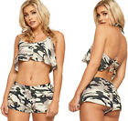 Womens Camouflage Halterneck Twin Set Ladies Crop Top Hot Pant Shorts Co-ord