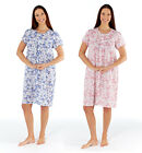 Womens Ladies Short Sleeve Nightie Nightwear Floral NightDress Cotton 10-24