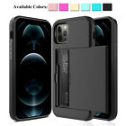 For iPhone 12 Pro Max mini 11 XS Shockproof Case With Wallet Credit Card Holder