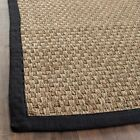 Safavieh Natural Fiber Seagrass NATURAL / BLACK Area Rugs - NF114C