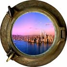 Huge 3D Porthole New York City View Wall Stickers Film Mural Decal 331
