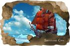Huge 3D Smugglers Cove Pirate Cave View Wall Stickers Mural  Decal Film 28