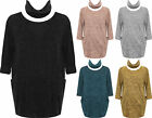 Plus Womens Knitted Baggy Pocket Long Sleeve Round Neck Ladies Scarf Top 16-26