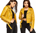 Womens Classic Cropped Faux Leather Look Pu Long Sleeve Ladies Biker Jacket 8-14