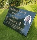 Personalised Black Granite Photo Memorial Grave Plaque Stone Any Wording Etched