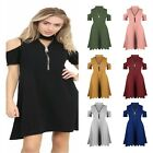 Ladies Women Choker V Neck Zip Up Cut Shoulder Swing Dress Swing Midi Top Dress