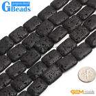 Black Lava Volcanic Gemstone Rectangle Beads For Jewelry Making Free Shipping