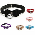 2PCS Dog Cat PU Leather Bell Collar Buckle Neck Strap Safety Adjustable Necklace