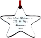 Personalised Our First Christmas as Mr & Mrs Star Tree Decoration Bauble Gift