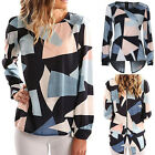 Fashion Women Blouse Casual Hot Color Print Long Sleeve Zippered Back Top Shirts