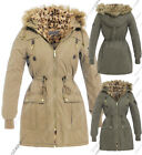 NEW Womens Fleece Hood Faux Fur Parka Coat Ladies Beige Jacket Size 8 to 16
